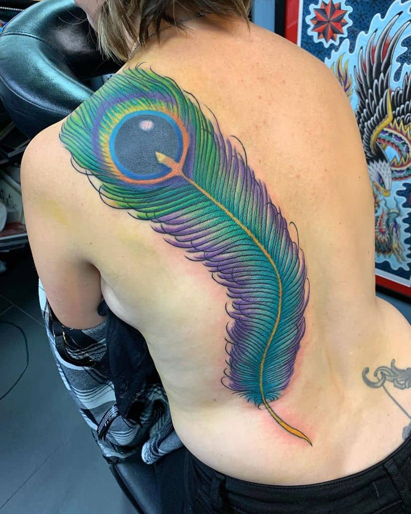 Huge Element Peacock Feather Tattoo