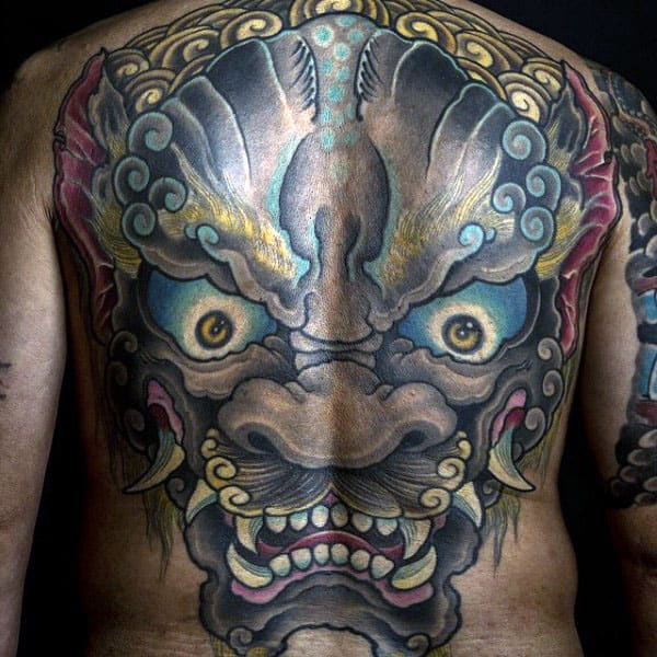 Huge Foo Dog Mens Full Back Tattoo Designs