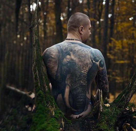 Huge Grey Elephant Tattoo Males Back