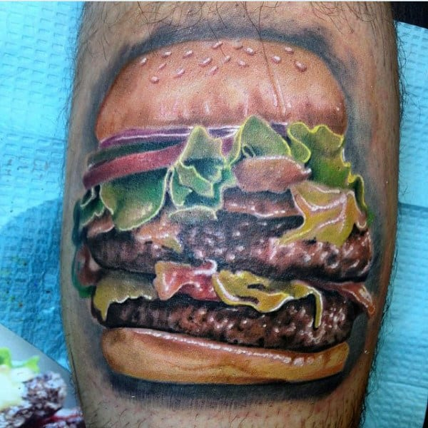 Huge Hamburger Food Tattoo Male Arms