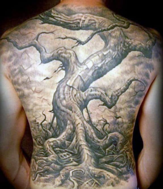 Huge Oak Tree Tattoo On Guys Full Back