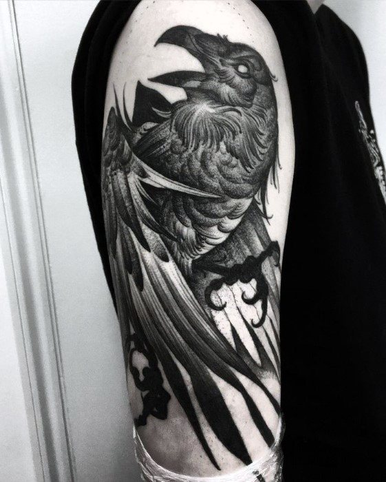 Huginn And Muninn Remarkable Odins Ravens Tattoos For Males
