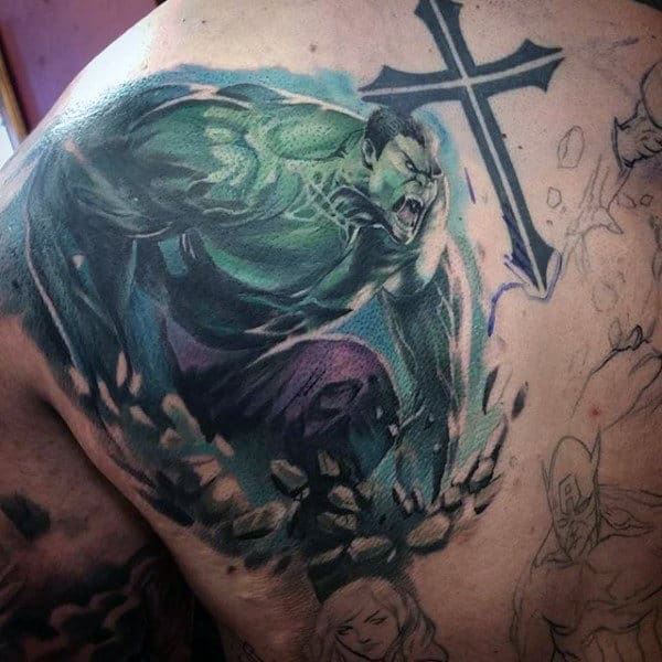 Hulk And Cross Tattoo Male Shoulders
