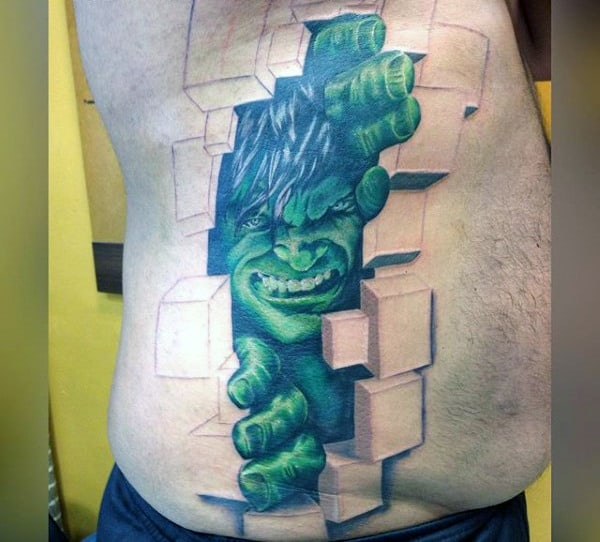 Hulk Breaking Through Blocks Tattoo Male Torso