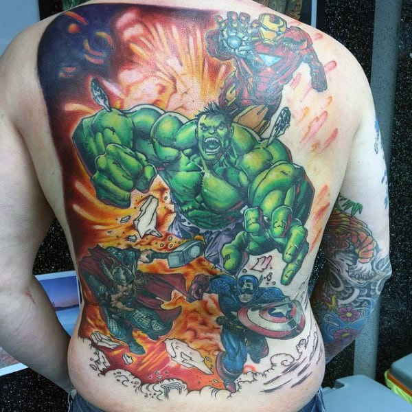 Hulk Causing Damage Tattoo Male Full Back