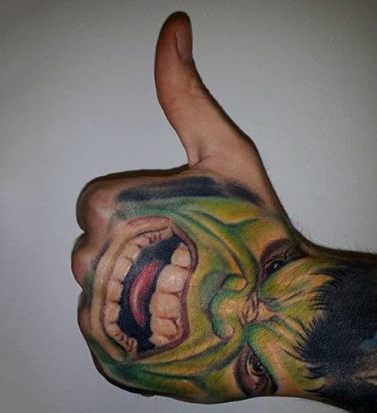 Hulk Grinning Tattoo Male Hands