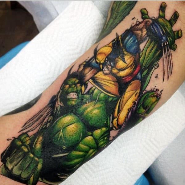 Hulk In Fight Tattoo Male Forearms
