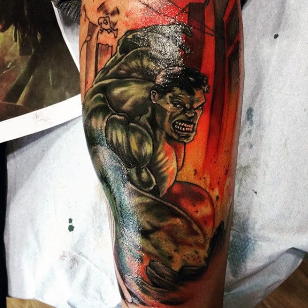 Hulk Orange Glow Tattoo Male Lower Legs