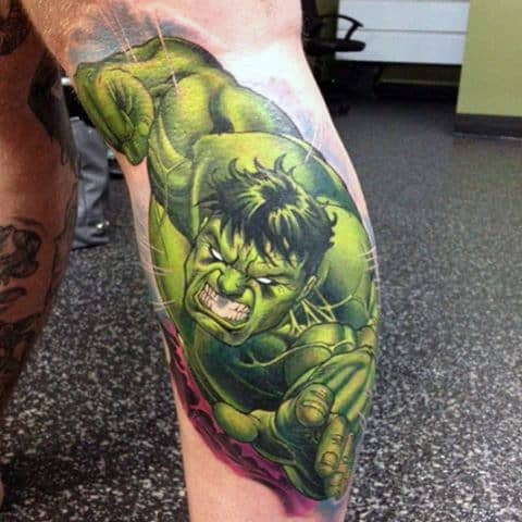 Hulk Punch Tattoo Male Legs
