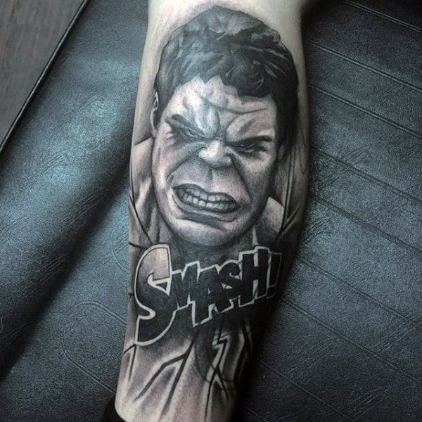 Hulk Smash Tattoo Male Forearms