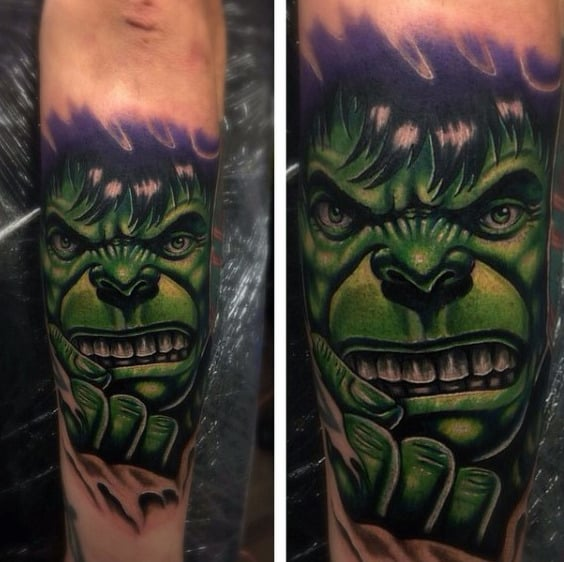 Hulk Tattoo Male Forearms