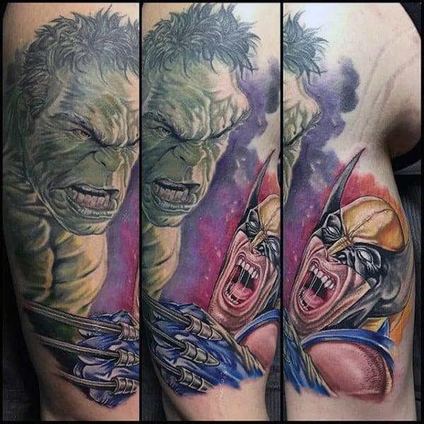 Hulk Vs Wolverine Mens Arm Tattoos
