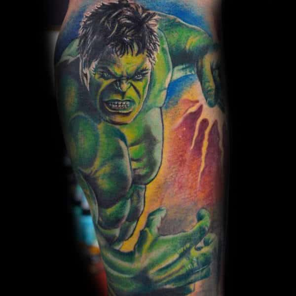 Hulk With Lightening Streak Tattoo Male Forearms