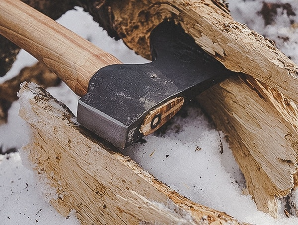 Hults Bruk Axe Akka Review Chopping Up Wood Tree