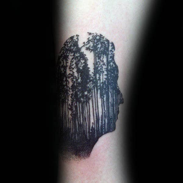 Human Face Silhouette With Trees Mens Optical Illusion Tattoos