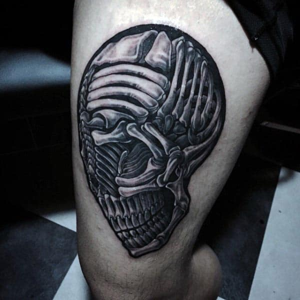 Human Skull Unique Mens Thigh Bone Tattoo Designs