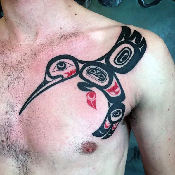 Hummingbird Mens Tribal Shoulder Upper Chest Tattoo