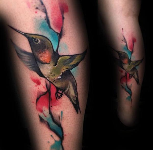 Hummingbird Watercolor Tattoo For Men On Legs