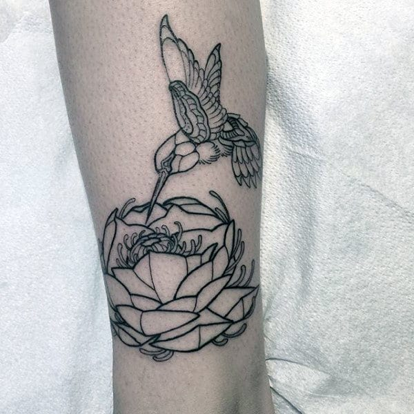 Hummingbird With Geometric Flower Mens Forearm Tattoo