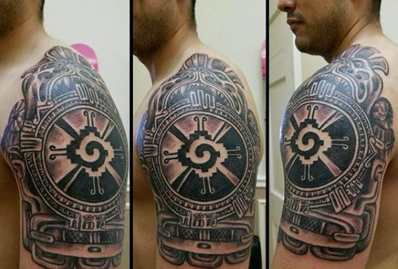 Hunab Ku Mayan God Mens Quarter Sleeve Tattoos