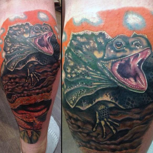 Hungry Iguana Tattoo Lower Legs Males