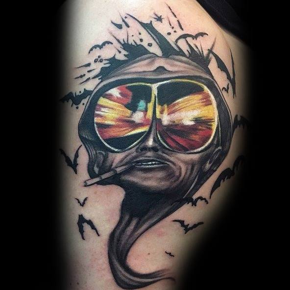70 hunter s thompson tattoo designs for men fear and loathing ideas. Black Bedroom Furniture Sets. Home Design Ideas
