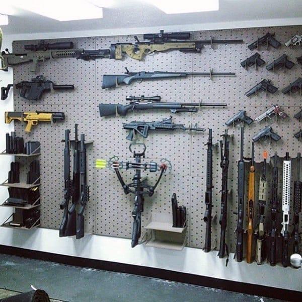 Hunters Wall Of Firearms In Gun Room