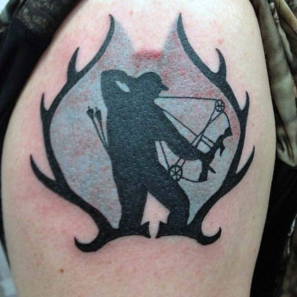Hunting Crossbow Archery Tattoos For Men With Deer Antlers On Upper Arm