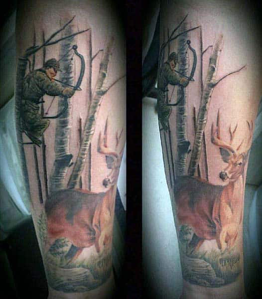 Hunting Deer Mens Archery Tattoo Designs For Men On Wrist