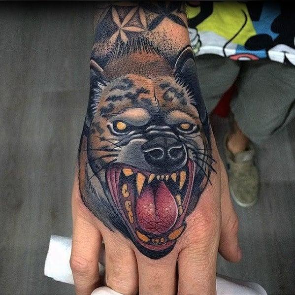Hyena Hand Tattoos Guys