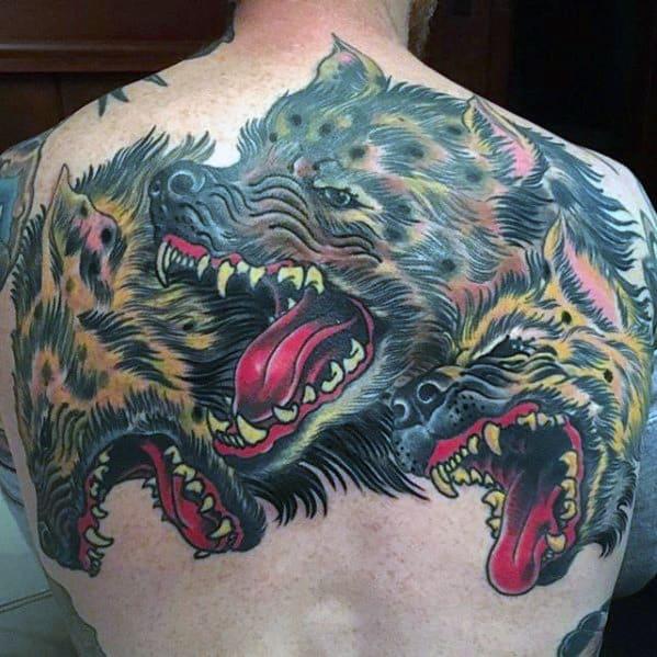 Hyena Upper Back Tattoos Male