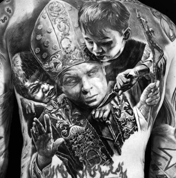 Hyper Realisic 3d Back Big Male Tattoos