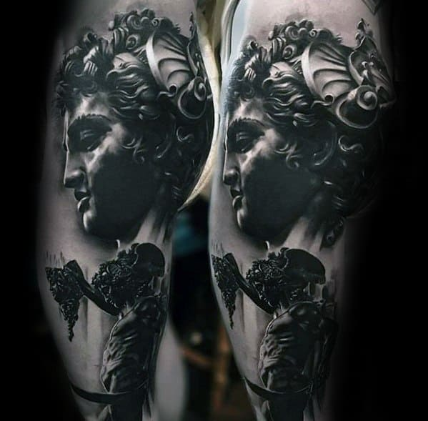 Hyper Realistic 3 Perseus Male Tattoo Ideas On Thigh And Legs