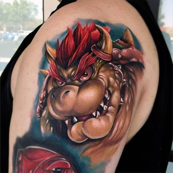 Hyper Realistic 3d Arm Cool Bowser Tattoos For Men