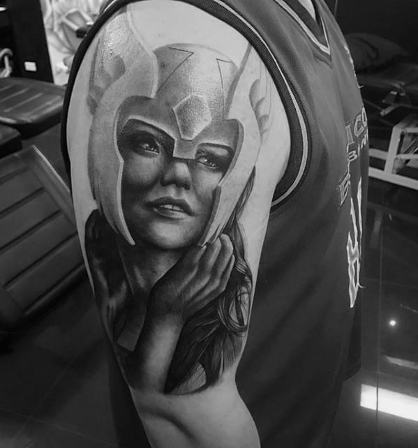 Hyper Realistic 3d Arm Valkyrie Male Tattoos