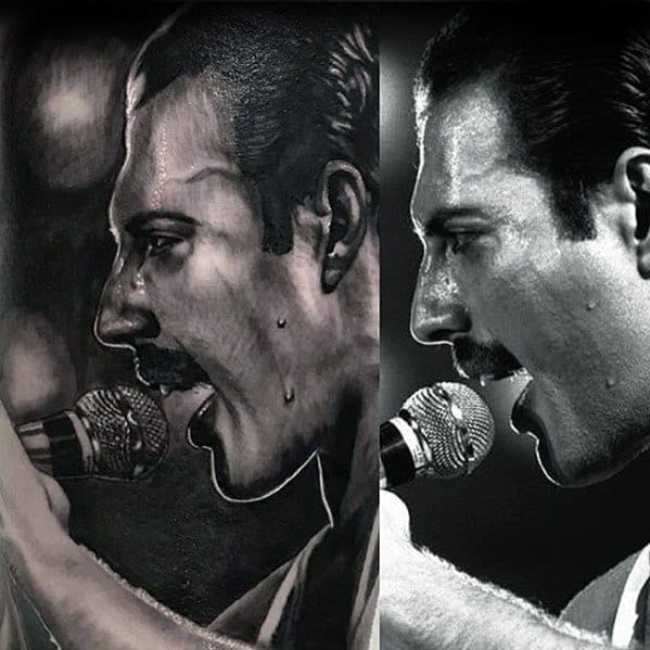 Hyper Realistic 3d Cool Male Freddie Mercury Tattoo Designs