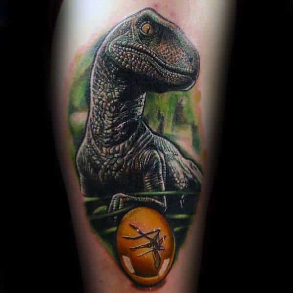 Hyper Realistic 3d Dinosaur Leg Jurassic Park Guys Tattoos