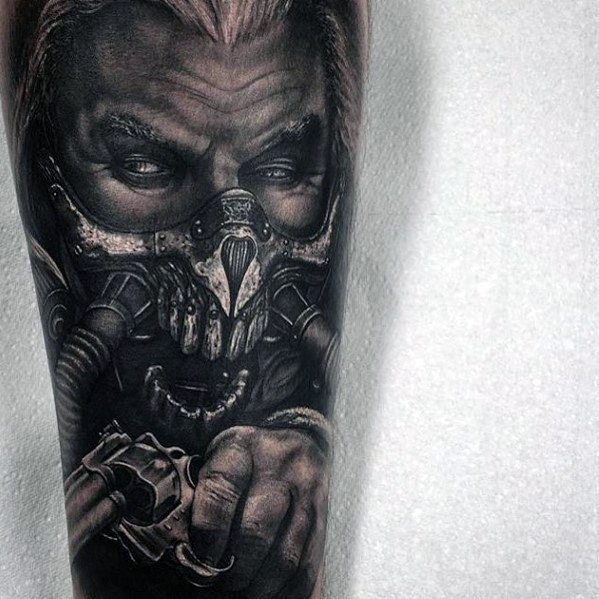 Hyper Realistic 3d Forearm Sleeve Mad Max Guys Tattoo Ideas