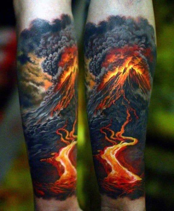 Hyper Realistic 3d Forearm Sleeve Male Volcano Tattoo Ideas