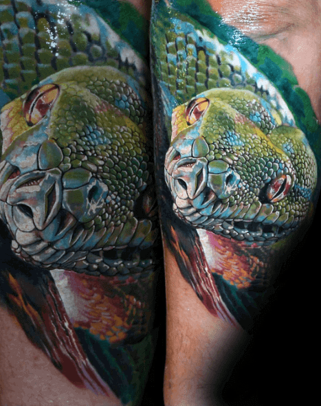 Hyper Realistic 3d Green Snake Mens Outer Forearm Tattoo