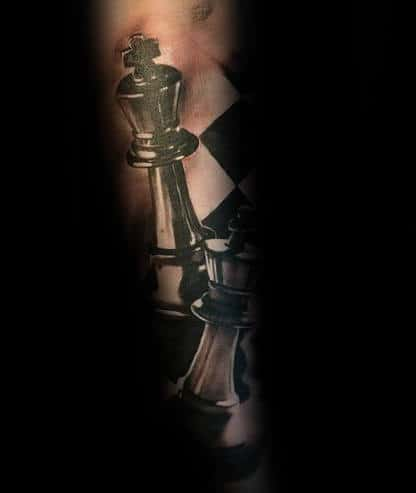 Hyper Realistic 3d Guys King Chess Piece Forearm Sleeve Tattoo Inspiration