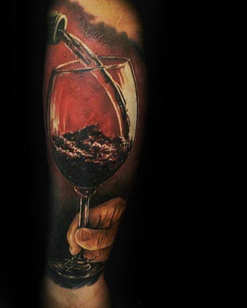 Hyper Realistic 3d Guys Wine Tattoos Forearm Sleeve