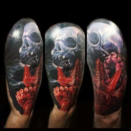 Hyper Realistic 3d Half Sleeve Male Octopus Skull Tattoo Designs