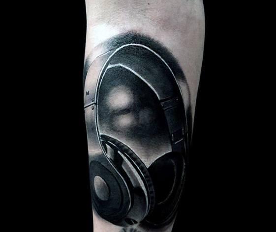 Hyper Realistic 3d Headphones Guys Forearm Tattoos