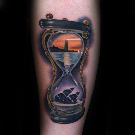 Hyper Realistic 3d Hourglass Sinking Ship Forearm Tattoos For Gentlemen