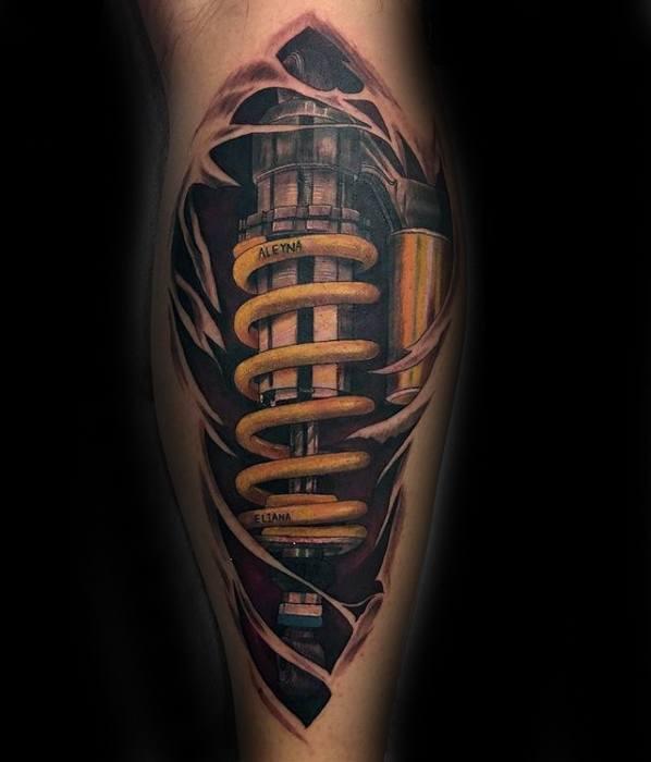 Hyper Realistic 3d Leg Distinctive Male Suspension Tattoo Designs