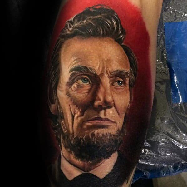 Hyper Realistic 3d Male Abraham Lincoln Tattoo Ideas