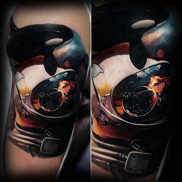 Hyper Realistic 3d Orca Tattoos For Gentlemen