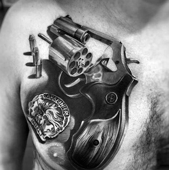 Hyper Realistic 3d Revovler Coolest Tattoos For Men On Chest