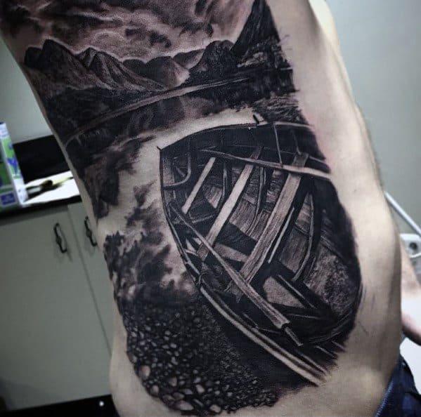 Hyper Realistic 3d Rib Cage Side Lake Mens Tattoo Designs